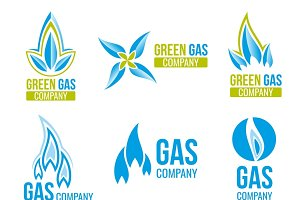 Gas industry icons set