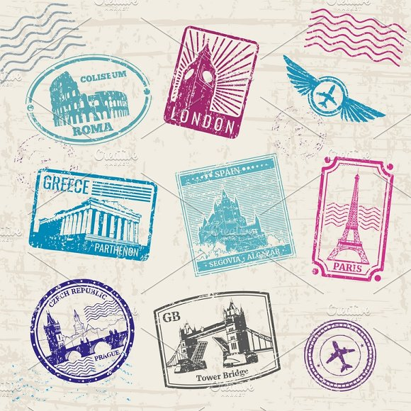 Travel Stamps With Landmarks