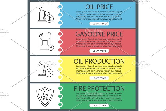 Oil Industry Web Banner Templates Set