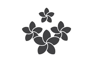 Spa salon plumeria flowers glyph icon