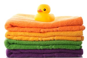 Stack towels and rubber duck