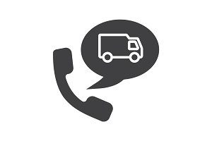 Delivery order by phone glyph icon
