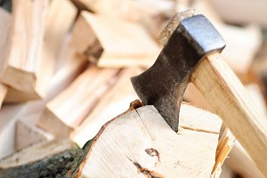 Firewood with axe