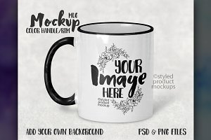 Color handle and rim mug mockup