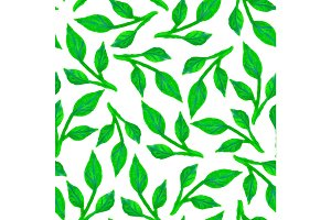 Watercolor seamless pattern with leaves on white background