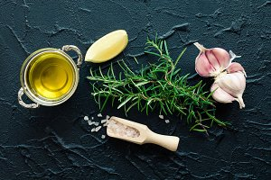 Rosemary, garlic, lemon, salt and olive oil
