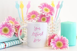 Pink, Yellow and Mint Mug Mockup