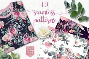 Seamless Watercolor Floral Patterns