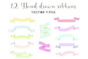 Hand drawn ribbons clip art