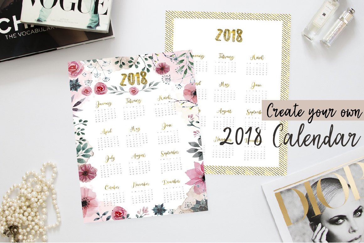 Create Your Own 2018 Calendar Graphic Objects Creative
