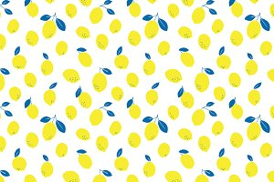 Blue + Yellow Lemons Vector Pattern