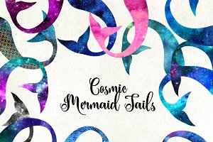 Cosmic Mermaid Tails Clipart