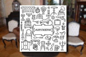 Antiques Set+2 Seamless Patterns
