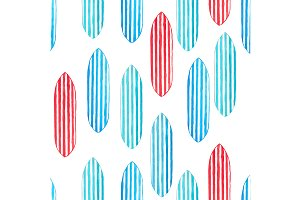 Watercolor Surfboard Seamless