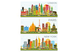 London, Paris, New York Skyline