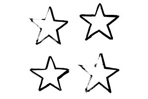 Stars Hand Drawn Set Isolated