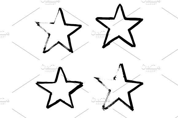 Stars Hand Drawn Set Isolated