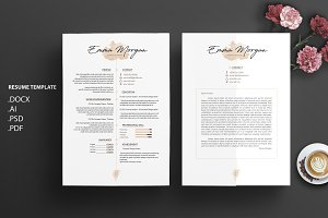 Watercolor CV / Resume Template / M