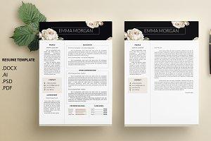 White Rose CV / Resume Template / M
