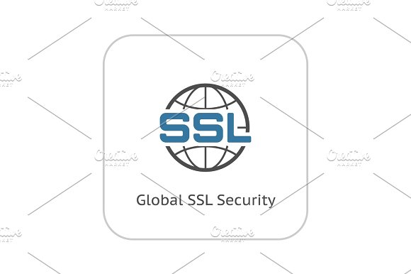 Global SSL Security Icon Flat Design