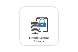 Mobile Secure Storage Icon. Flat Design.