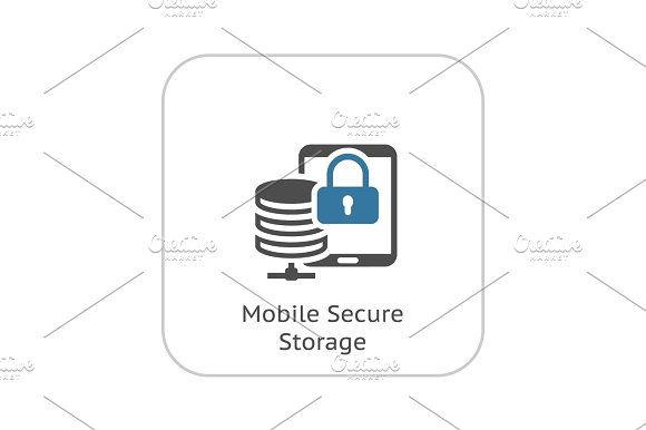 Mobile Secure Storage Icon Flat Design