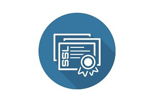 SSL Certificates Icon. Flat Design.