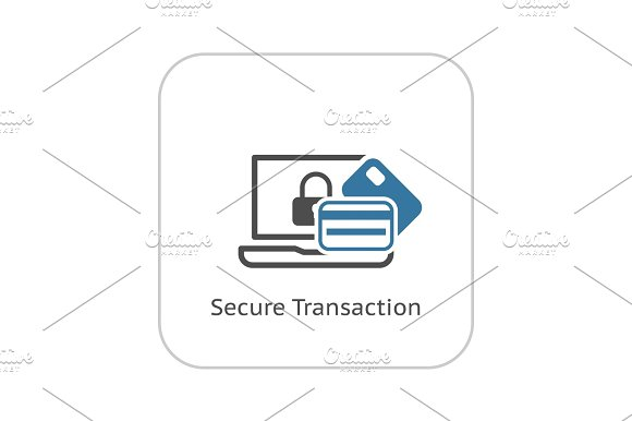 Secure Transaction Icon Flat Design