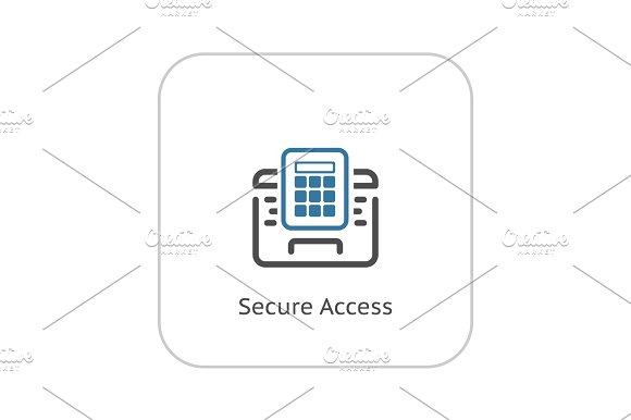 Secured Access Icon Flat Design