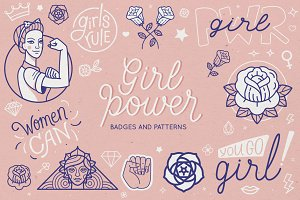 Girl power - badges and patterns