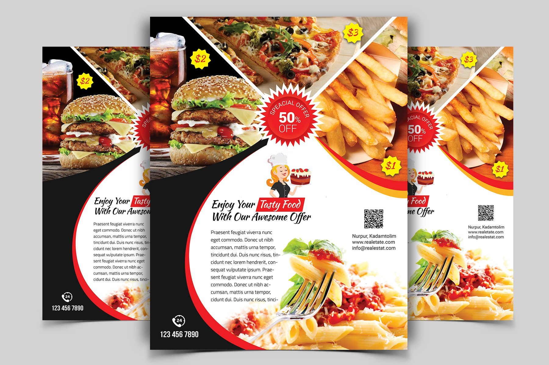 restaurant flyer vol 01 flyer templates creative market