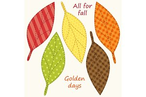 Cute handmade autumn leaves as retro fabric applique