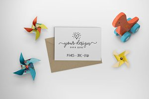 Dinosaur & Pinwheels Card mock up