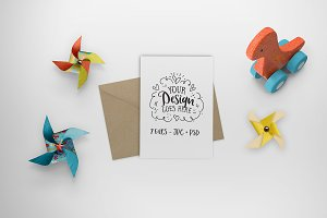 Greeting card mockup - dinosaur toy