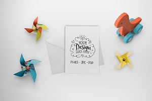 Kids greeting card mockup
