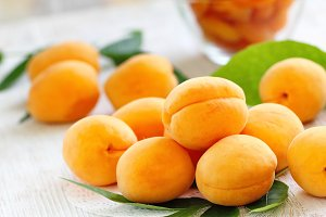 Ripe apricots on the table