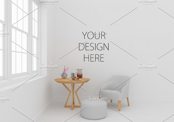 White Interior Wall Art Mockup
