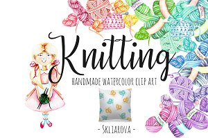 Knitting Watercolor Clip art