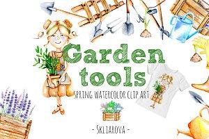 Garden tools Watercolor clip art