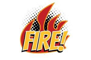 fire word pop art style