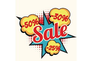 sale 50 30 25 percent discount comic book word