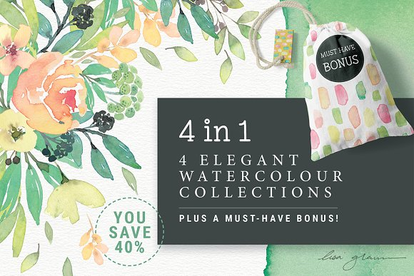 4in1 Elegant Watercolour collections in Illustrations