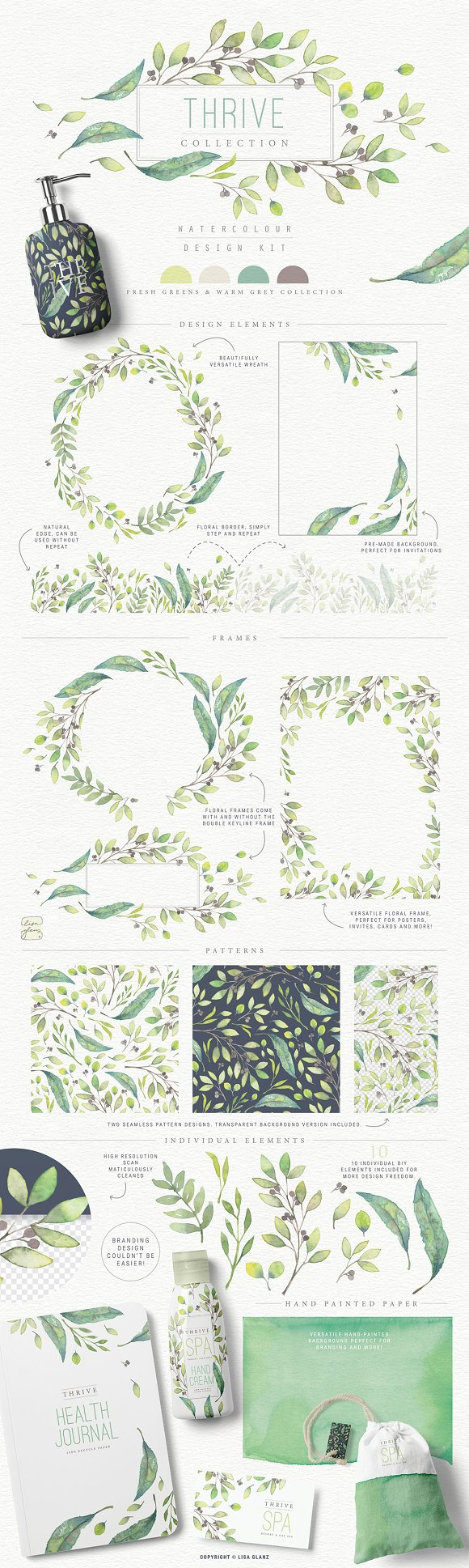 4in1 Elegant Watercolour collections in Illustrations - product preview 3