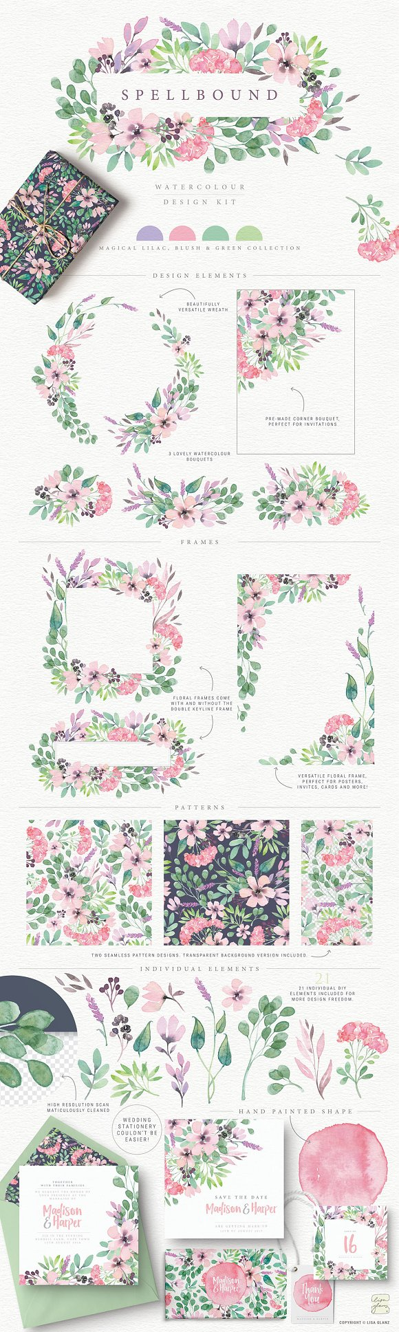 4in1 Elegant Watercolour collections in Illustrations - product preview 4