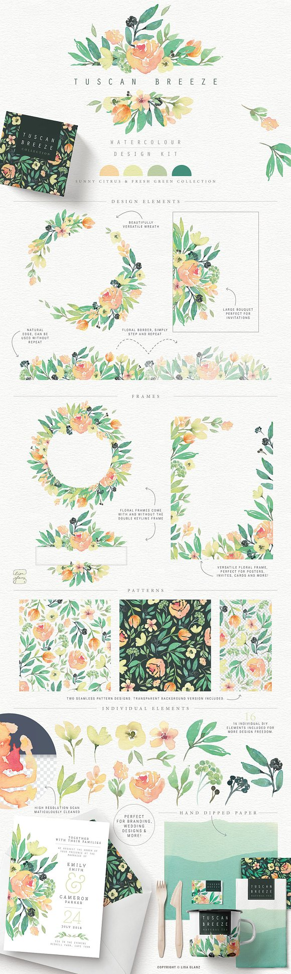4in1 Elegant Watercolour collections in Illustrations - product preview 5