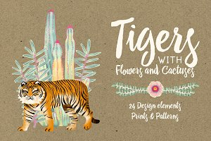 Tigers with flowers & cactus
