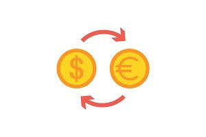 Currency exchange flat icon