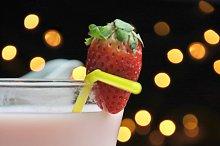 glass of strawberry milkshake