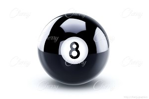 Black eight ball 3D illustration