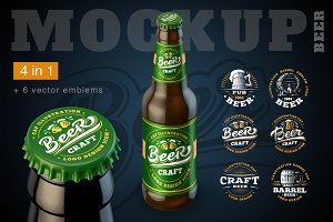 4 Mockup Bottle of beer. + emblems